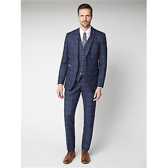 Navy avec blue check tweed suit jacket