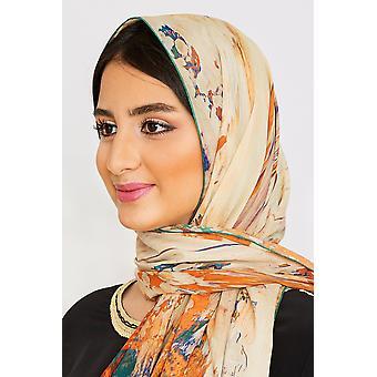 Kvinnor & apos;s lätta stora huvud halsduk i grönt tryck