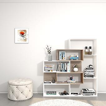 Library Era Colore Bianco, Sonoma i Truciolare Melaminico, L140xP27xA150 cm
