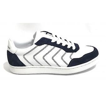 Tênis de sapatos masculinos Trussardi Jeans Leather Col. Branco/ Azul Us18tj03
