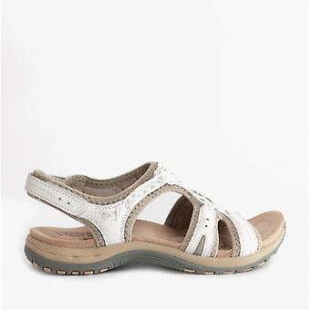Earth Spirit Fairmont Ladies Suede Touch Fasten Sandals White