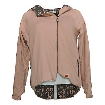 Peace Love World Women's Reversible Knit Jacket Allover Print Pink A294964