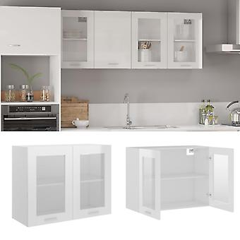 Hanging Glass Cabinet High Gloss White 80x31x60 Cm Chipboard