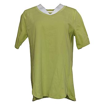 إسحاق مزراحي لايف! Women's Top Essentials V-Neck Tulip Hem Green A391164