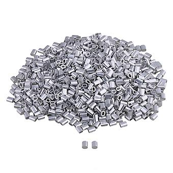 1000PCS 5x4mm Silver Oval Aluminium Clip Ferrule Sleeves Clamp for Wire Rope