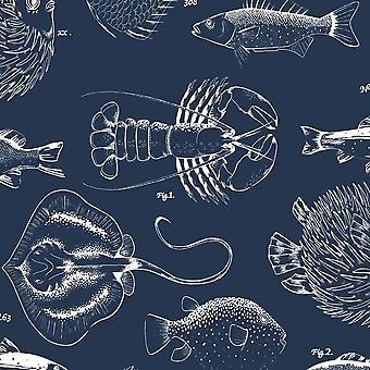 Into The Deep Navy Wallpaper