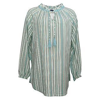 Isaac Mizrahi En direct! Women's Top Stripes Split-Neck Knit Tunic Green A350379