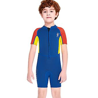 Kids wetsuit long sleeve one piece uv protection thermal swimsuit dfse-15