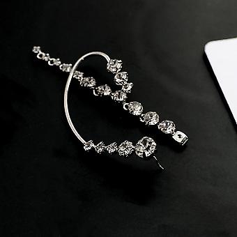 New Rhinestone Shiny Drill Arc Ear Hanging Clip Earrings