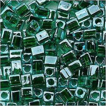 Miyuki 4 мм Стеклянный куб Бусины Зеленая подкладка Синий #2643 10 грамм