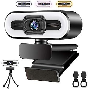FengChun Webcam mit Mikrofon und 3 Farbfülllicht, 1080P HD USB Webcam für