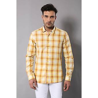 Slim fit plaid patterned yellow shirt