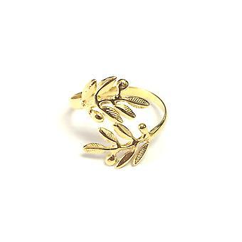 Sterling Silver 18k Gold Overlay Adjustable Olive Leafs Ring, Size 6