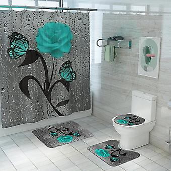4 pieces/set of non-slip waterproof butterfly rose shower curtain toilet cover cover base carpet