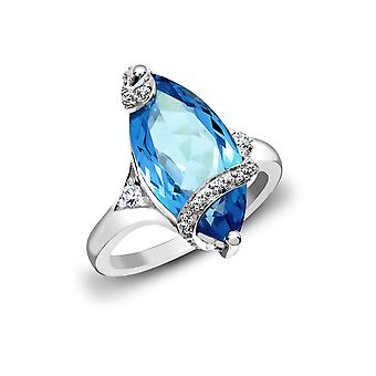 Jewelco Londyn 18ct White Gold Pave Set G SI1 0.11ct Diamond i Marquise Blue 7.3ct Topaz Cocktail Solitaire Ring 20mm
