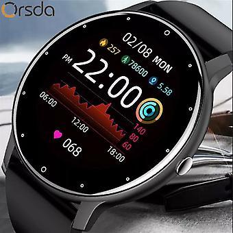 Novo relógio inteligente Homens tela de toque completo Sport Fitness Watch IP67 WaterproofSmart Watches (preto)