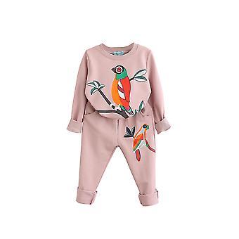 4T bird patterns girls clothing sets autumn winter toddler kids tracksuit cai666