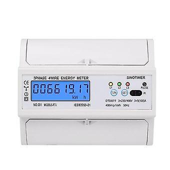 3 フェーズ 4 ワイヤー rs485 modbus 380v din レールエネルギーメーターデジタルバックライト力率は電圧電流表示とモニター