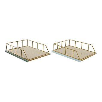 Tray DKD Home Decor Polypropylene (PP) MDF Wood (2 pcs)