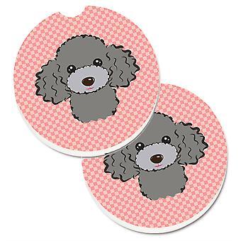 Caroline's Treasures Checkerboard Pink Silver Gray Poodle Set di 2 Cup Holder Car Coasters BB1259CARC, 2.56, Multicolor