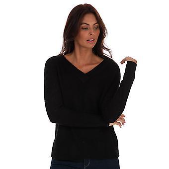 kvinners modige sjel ribbet v-neck jumper i svart