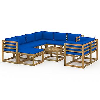 vidaXL 10 pcs. Garden Lounge Set with Cushion Blue