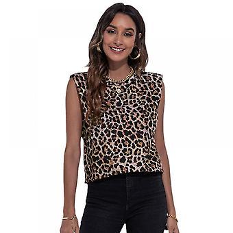 Lohill Mujer Crew Cuello Leopardo Estampado Camiseta Sin Mangas Camiseta Ladies Chaleco Sin Mangas Blusa
