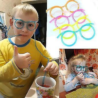 Piadas Bebendo Brinquedos Óculos Palha Crianças Festa de Aniversário Divertido Brinquedos Bar Party Supplies (002 Orange)