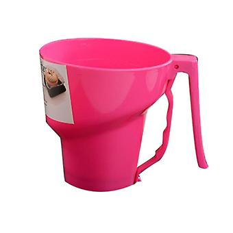 Manual Flour Sifter Dessert Pastry Powder Flour Sieve Sifter Pastry Bakery Tools Funnel Shape(Pink)