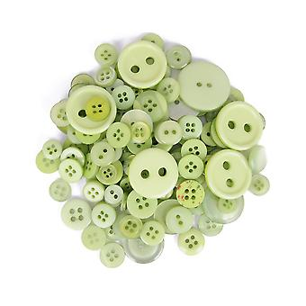 LAST FEW - 60g Assorted Light Green Buttons for Crafts | Sewing Scrapbooking Card Making