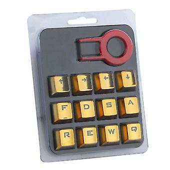 (Yellow) 12Pcs/Set MOBA Gaming Keycap Backlit Keycaps for Cherry Mx Mechanical Keyboard