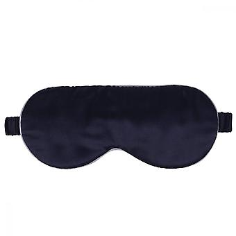 Swotgdoby Large Arc Pure Silk Eye Mask, Navy Blindfold With White Edge