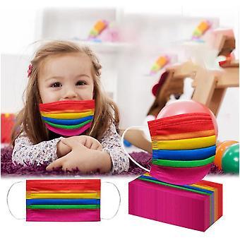 40pcs Kids Children's Rainbow Print Disposable Protective Mouth Mas