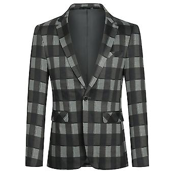 Yunyun Costume pour hommes Blazer One Button Jacket Plaid Casual Coat