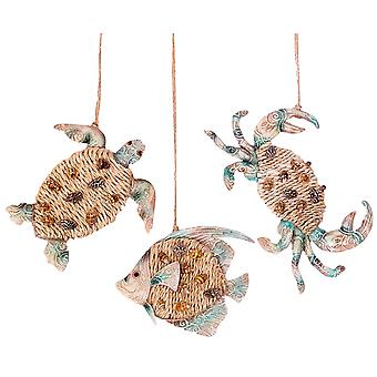 Key Biscayne Crab Sea Turtle Fish Christmas Holiday Ornaments Set of 3
