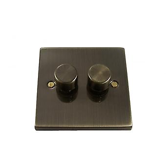 Causeway 2 Gang 2 Way 400W Dimmer, Antique Brass