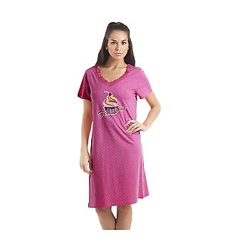 Camille White Polka Dot Delicious Cupcake Motif Fuchsia Pink Cotton Nightdress