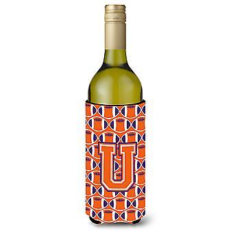 Letter U Football Orange, White and Regalia Wine Bottle Beverage Insulator Hugge