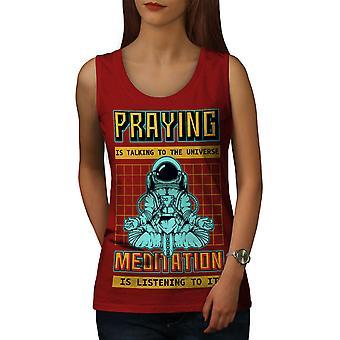 Pray Astronaut Women RedTank Top | Wellcoda