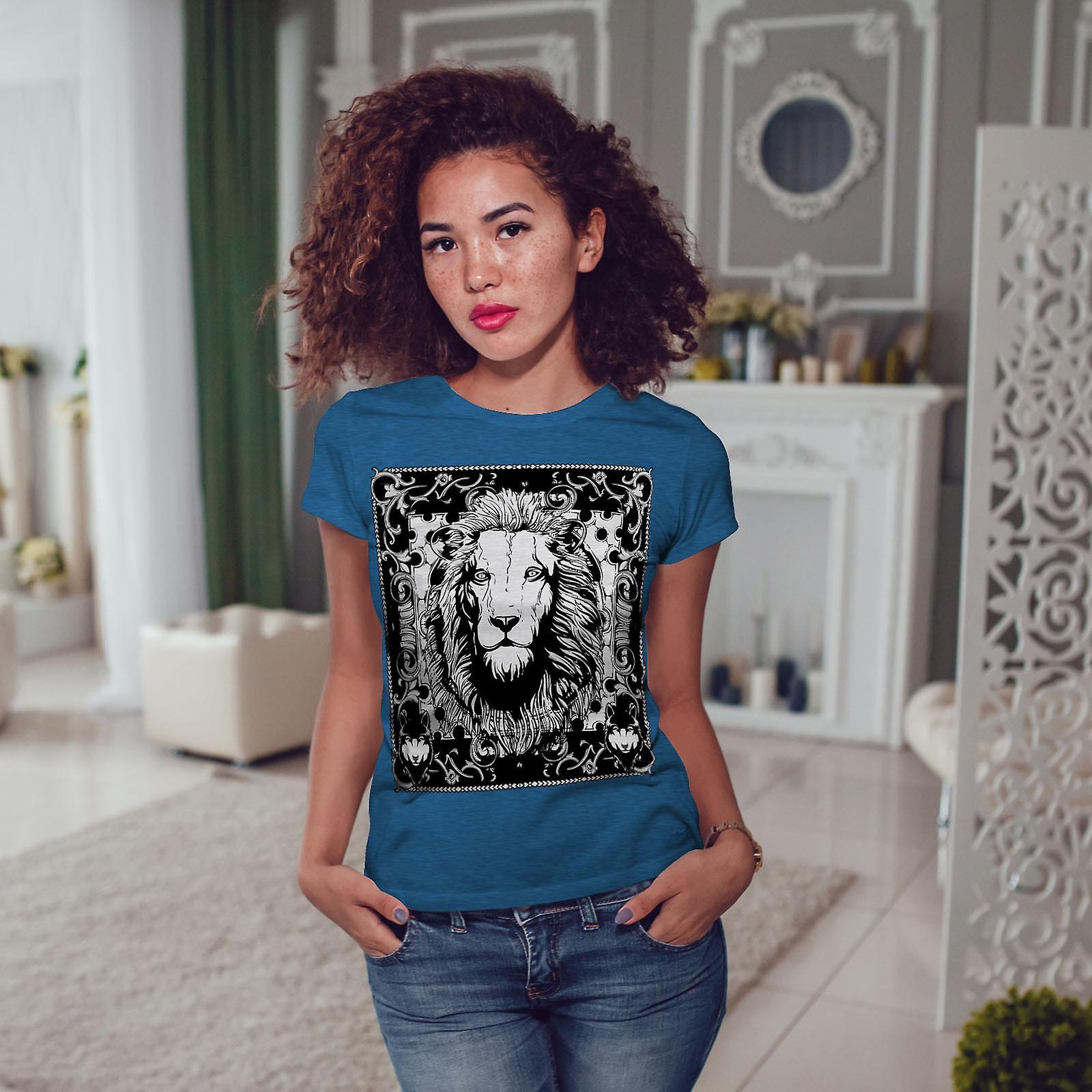 Lion calme visage Animal Royal BlueT-chemise femme | Wellcoda