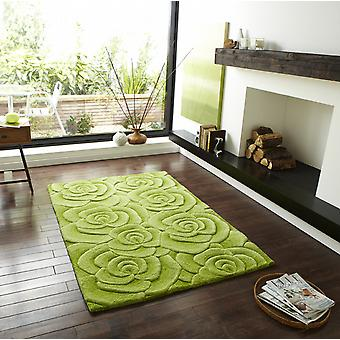Valentine VL 10 Green Self coloured rose design in shades of green Rectangle Rugs Modern Rugs