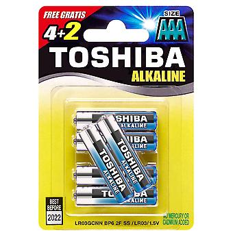 6 x piles alcalines LR03 1, 5V, 6er-Pack, TOSHIBA puissance supplémentaire AAA Micro