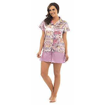 Ladies Wolf & Harte Classic Satin Floral Print Short Pyjama Set Lounge Wear
