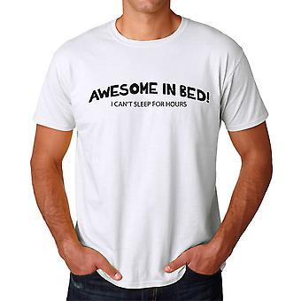 Morsomme Awesome i sengen ikke kan sove timer grafisk menns hvit t-skjorte