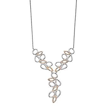 Elements Silver Contrast Shape Necklace - Silver/Rose Gold
