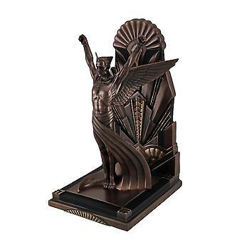 Bevingede mand metallisk kobber Finish Art Deco enkelt Bookend Statue