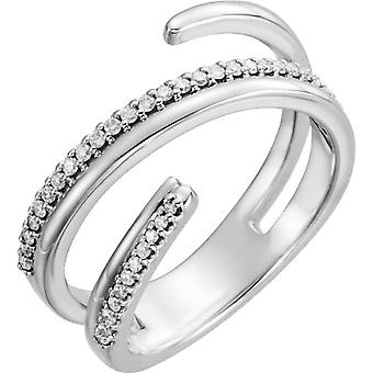 14kt Wit 1/6 CTW negatieve ruimte Ring rechterhand Twist diamantring
