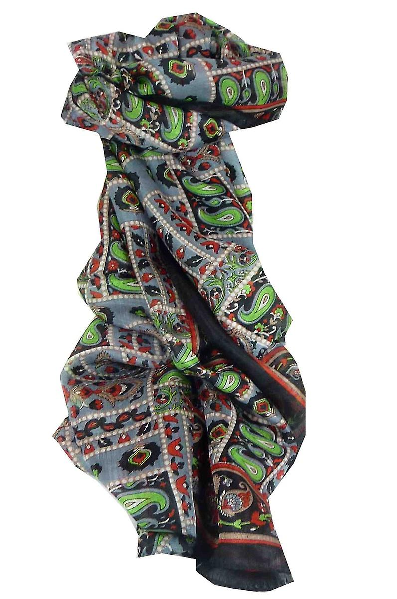 Mulberry Silk Traditional Long Scarf Chenab Black by Pashmina & Silk