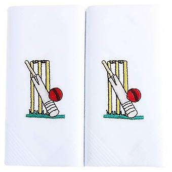 David Van Hagen Embroidered Cricket Handkerchief - White/Yellow/Red