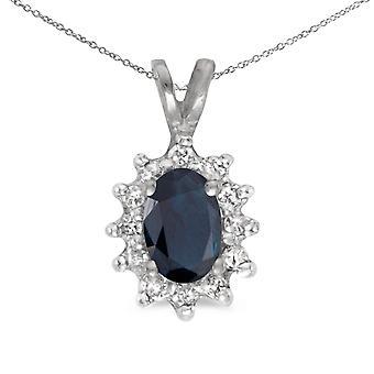 LXR 10k White Gold Oval Sapphire and Diamond Pendant 0.39 ct